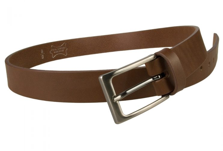 Mens Brown Leather Belt With Gun Metal Buckle, 30 mm Wide, Made In UK, Open Image 2