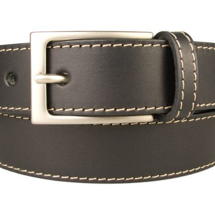 Stitched Belt| Black Leather | 30 mm Wide | Contrasting Stitched Edge | Matt Nickel Plated Buckle | Made In UK | Front Rolled Image