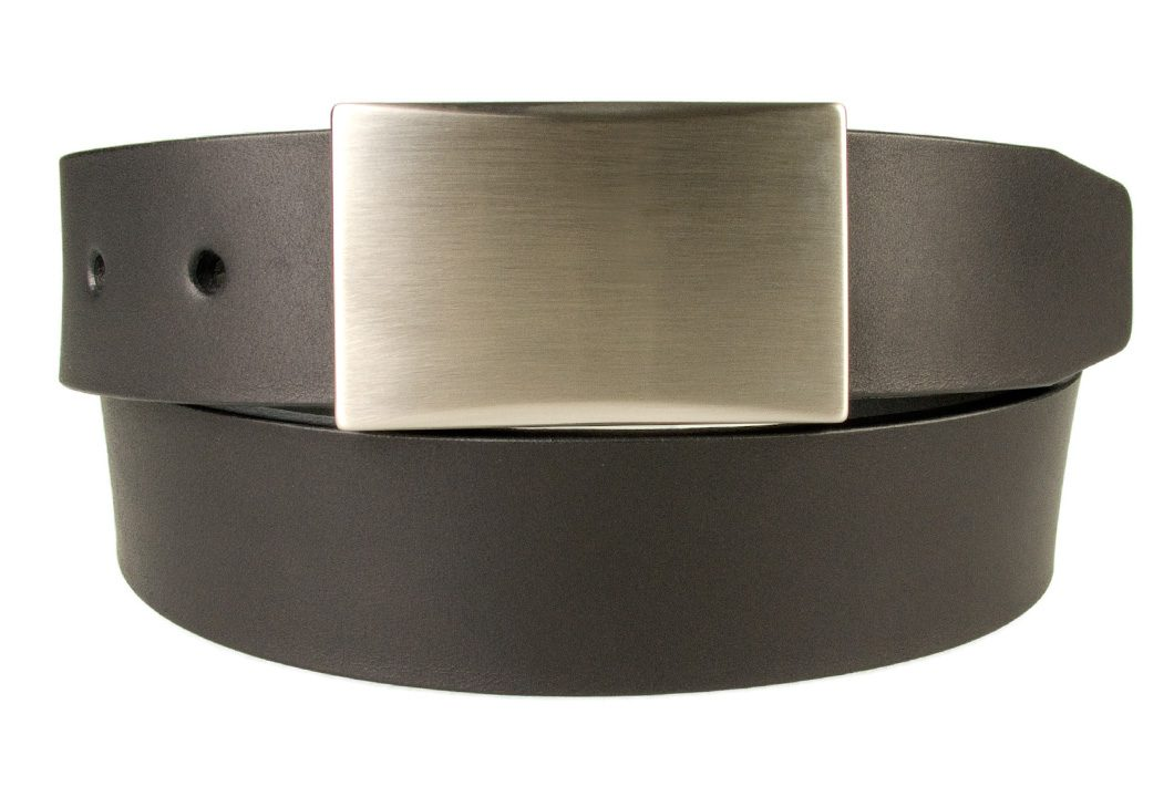 Mens black leather belt with plate buckle code 0029