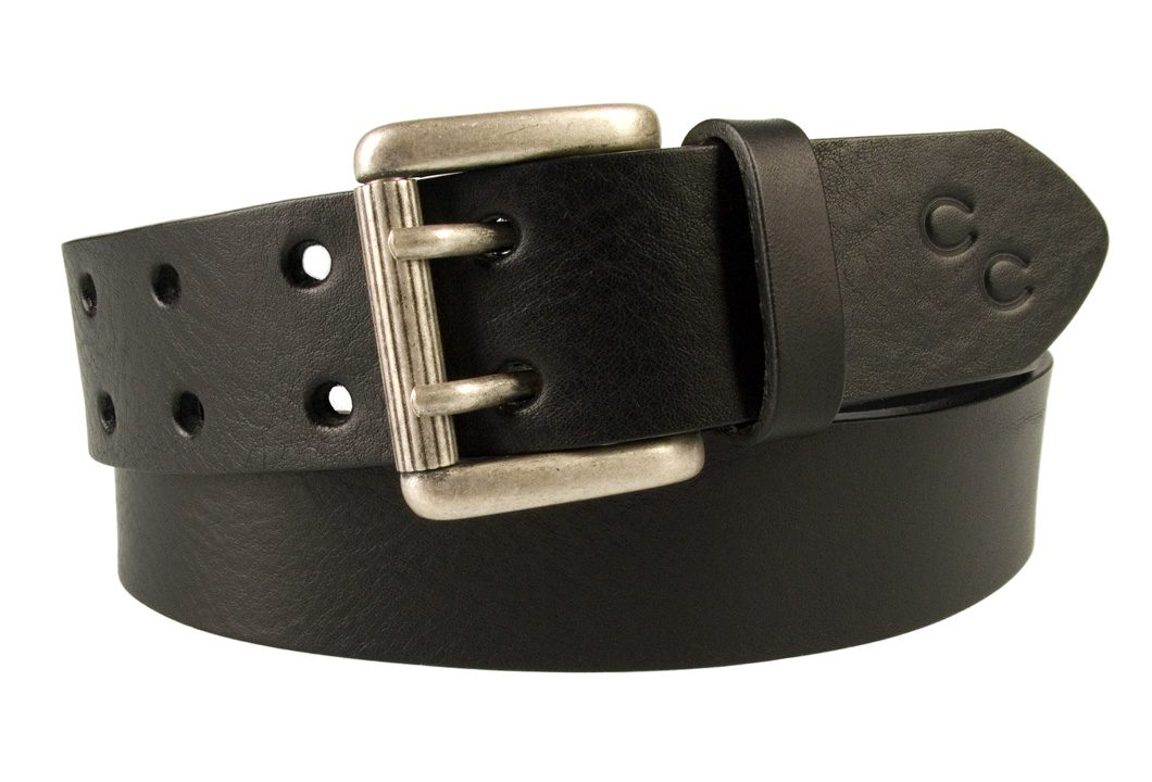 Ladies Black Leather Jeans Belt with Double Prong Buckle Made In UK
