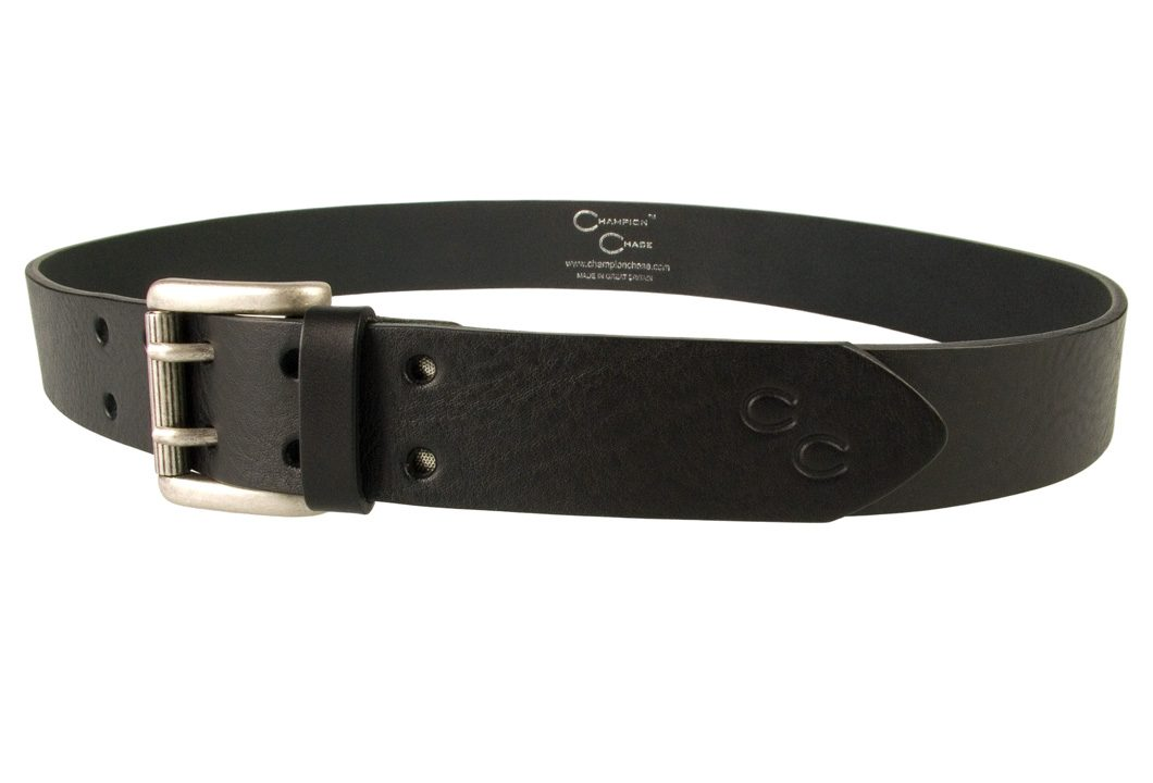 Ladies Black Leather Jeans Belt - High Quality Italian vegetable tanned leather - Double Prong Buckle - Made In UK