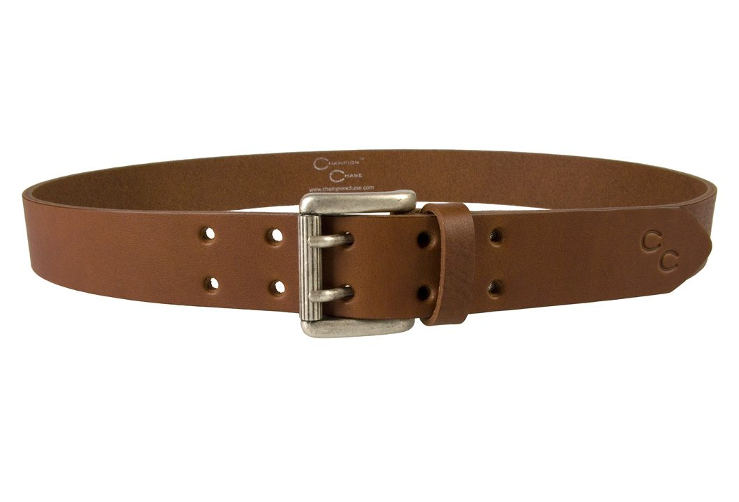 Ladies Tan Leather Belt Made In UK by Champion Chase - Front Facing View