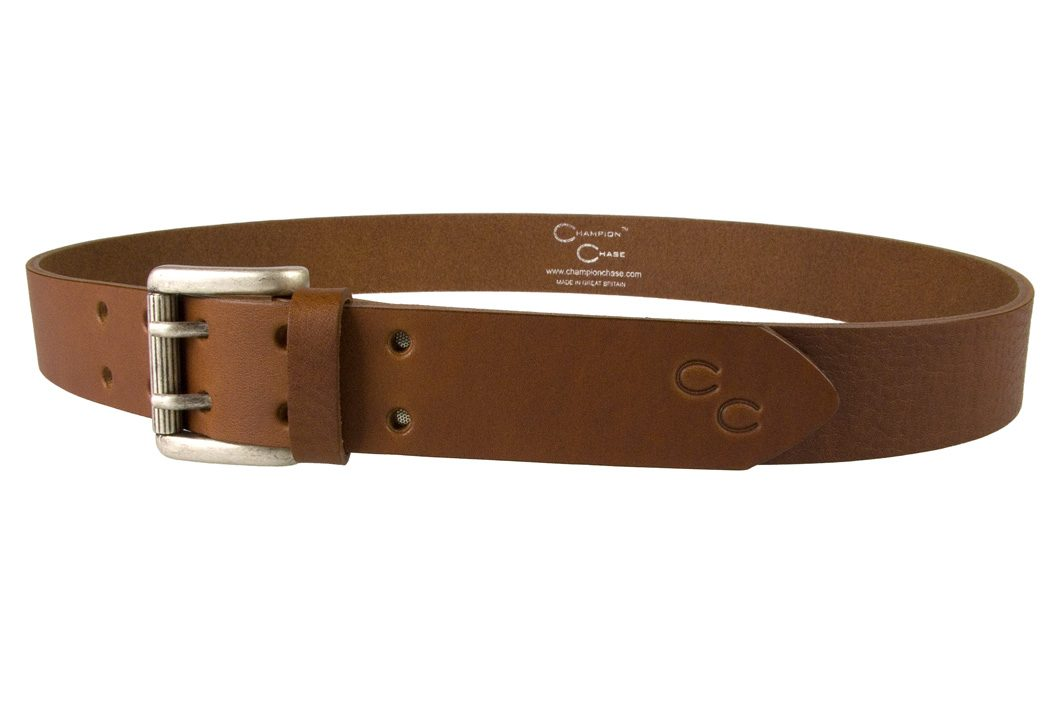Ladies Tan Leather Belt Made In UK by Champion Chase - Left Facing View