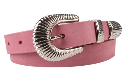 Ladies Pink Leather Belt with Western Style Sunray Buckle - Rolled View