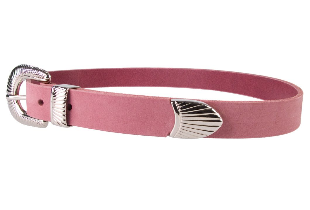Ladies Pink Leather Belt with Western Style Sunray Buckle - Left Facing View