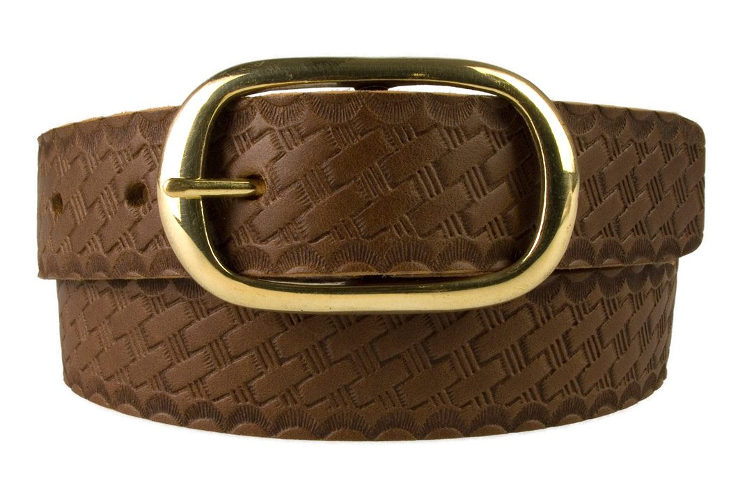 Ladies Retro Vintage Look Leather Belt - Front Rolled View