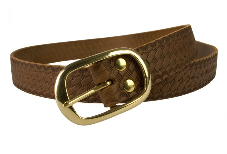 Ladies Retro Vintage Look Leather Belt - Open View