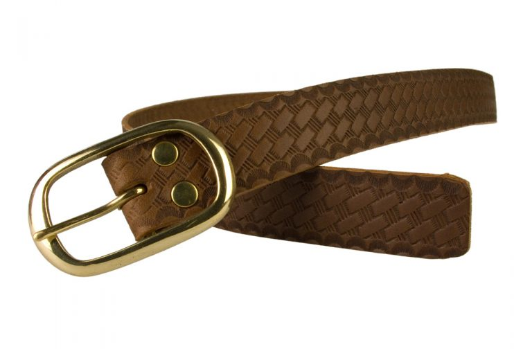 Ladies Retro Vintage Look Leather Belt - Open View 2 View