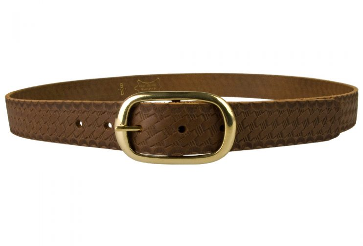 Ladies Retro Vintage Look Leather Belt - Front View
