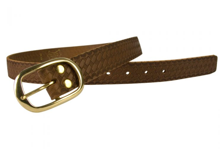 Ladies Retro Vintage Look Leather Belt - Open View 3 View