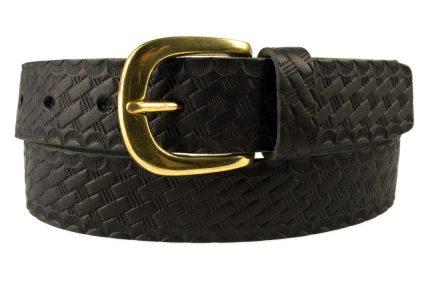 Mens Black Retro Vintage Look Leather Belt - Solid Brass Buckle