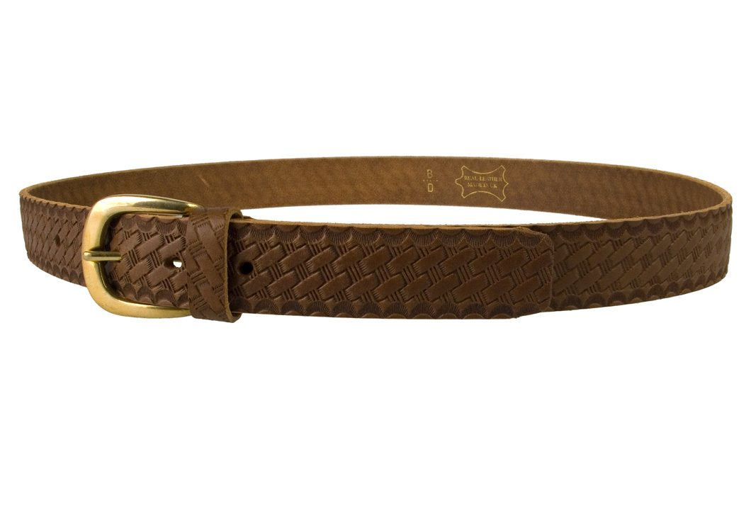 Mens Retro Vintage Look Leather Belt - Left View