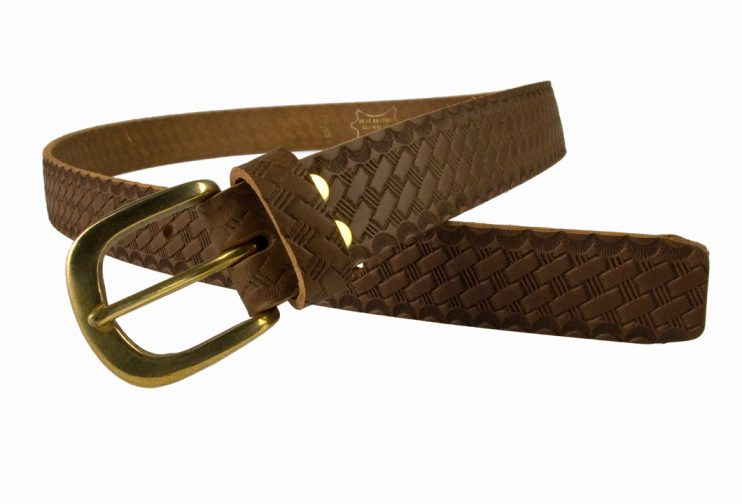 Mens Retro Vintage Look Leather Belt - Open View 1