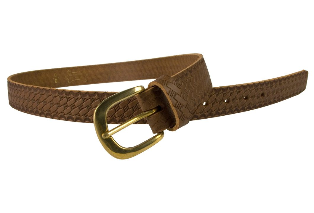 Mens Retro Vintage Look Leather Belt - Open View 2