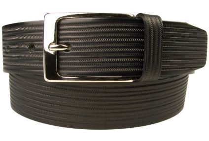 Black Leather Belt In Unique Chevron Embossed Design. This is an original design by Belt Designs. A high quality leather belt made in UK. 100% Italian Leather and Italian Made Buckle.