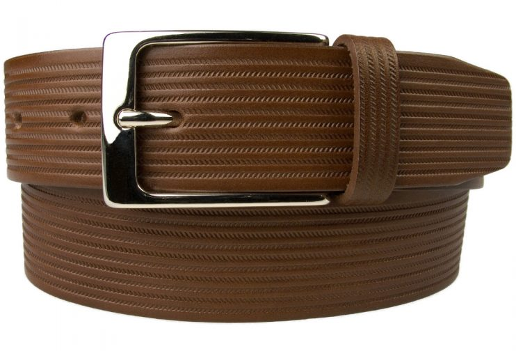 Brown Leather Belt In Unique Chevron Embossed Design. This is an original design by Belt Designs. A high quality leather belt made in UK. 100% Italian Leather and Italian Made Buckle.