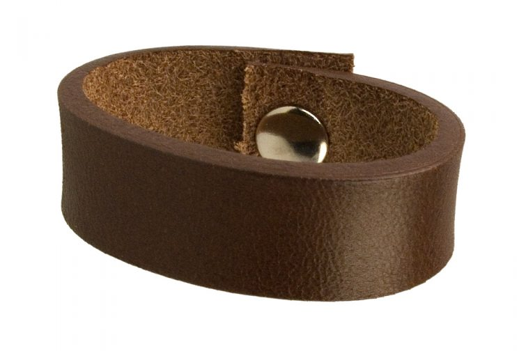 Brown Leather Belt Loop With Finished Edge