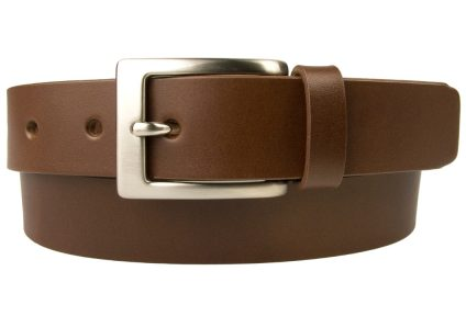 Mens High Quality Brown Leather Belt Made in UK | 30mm Wide | Hand Brushed Nickel Plated Buckle |Made In UK | Rolled Front Image