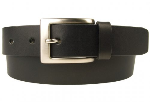 Mens Leather Suit Belt Made in UK | Black |30 mm Wide | Hand Brushed Nickel Plated Buckle |Made In UK | Rolled Front View