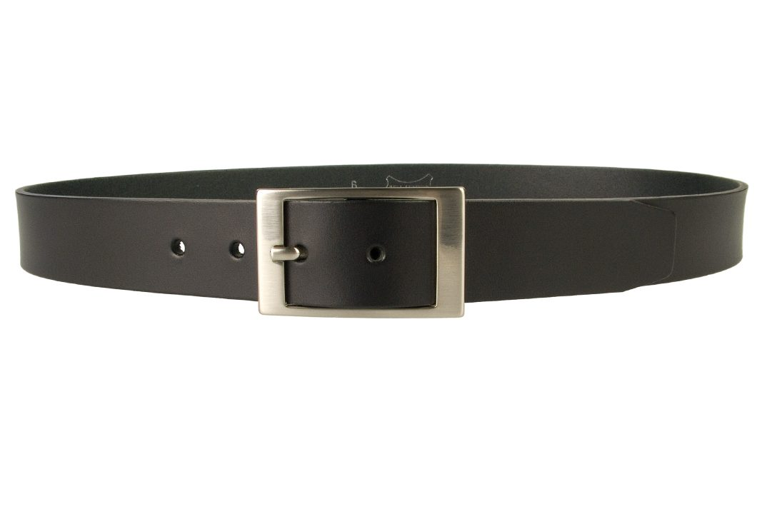 Mens Quality Leather Belt Made In UK - Black - 35mm Wide - Hand Brushed Nickel Plated Buckle - Front View