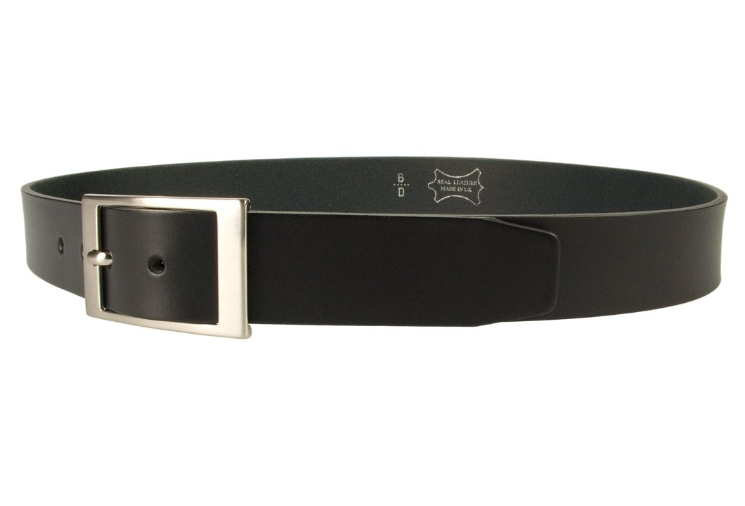 Mens Quality Leather Belt Made In UK - Black - 35mm Wide - Hand Brushed Nickel Plated Buckle - Left Facing View