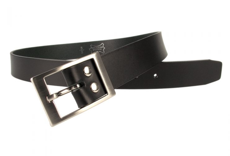 Mens Quality Leather Belt Made In UK - Black - 35mm Wide - Hand Brushed Nickel Plated Buckle - Open View 2