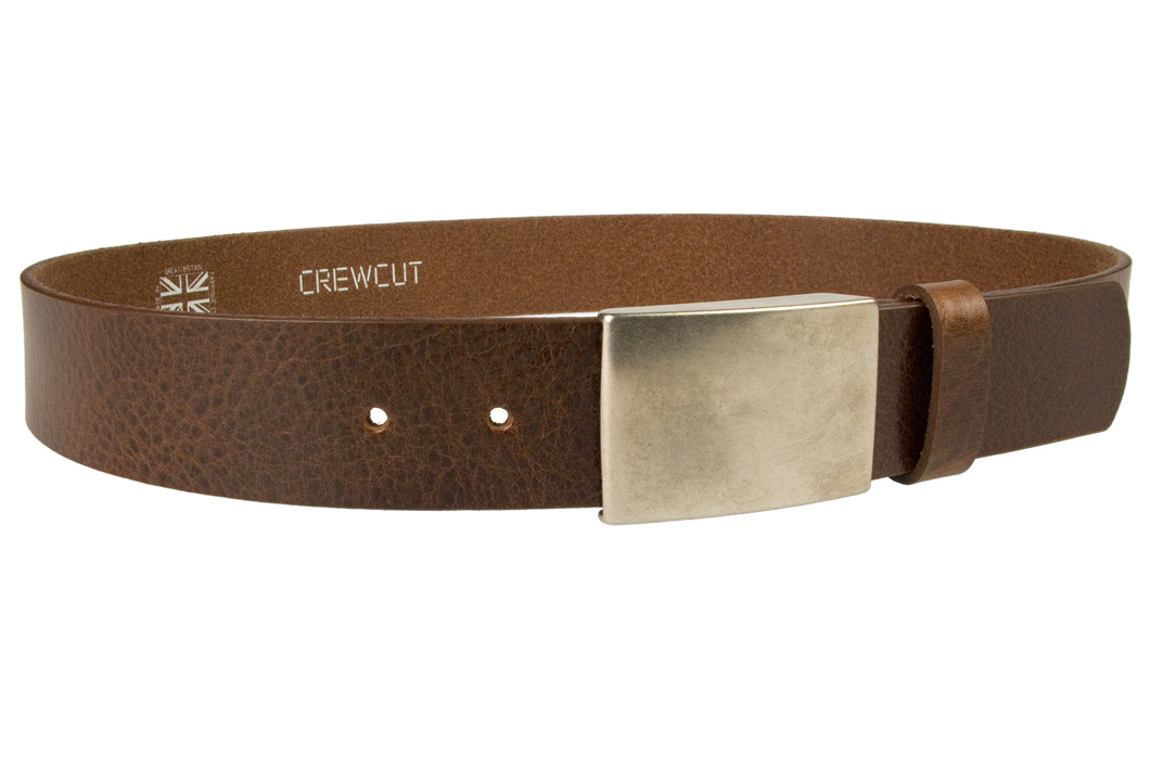 Plaque Buckle Leather Jeans Belt By Crewcut