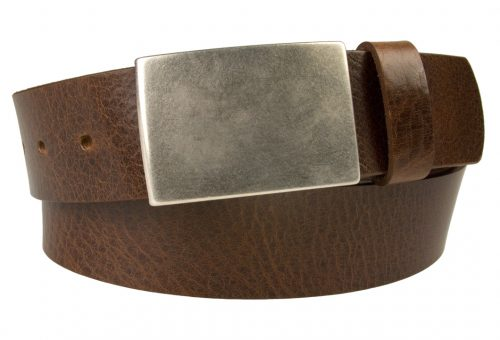 Plaque Buckle Leather Jeans Belt by CREWCUT. Made in U.K. by British craftsmen. High quality leather belt 4cm Wide with aged nickel plated plaque buckle.