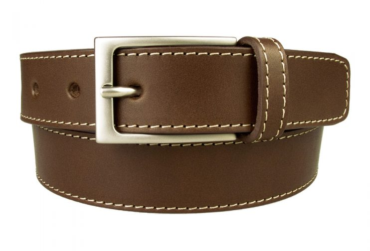 Belt Stitch Leather | Brown | 30 mm Wide | Contrasting Stitched Edge | Matt Nickel Plated Buckle | Made In UK | Front Rolled Image