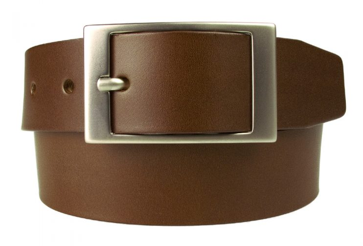 Brown Belt - 35 mm Wide With Centre Bar Buckle - Made In UK | Hand Brushed Nickel Plated Buckle | Front Rolled Image