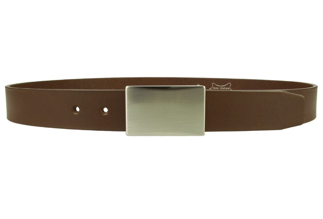 Plate Belt - Brown Leather - Made in UK | 35 mm Wide | Full Grain Italian Vegetable Tanned Leather | Hand Brushed Italian Made Nickel Plated Buckle | Free Sliding Loop | Front Image