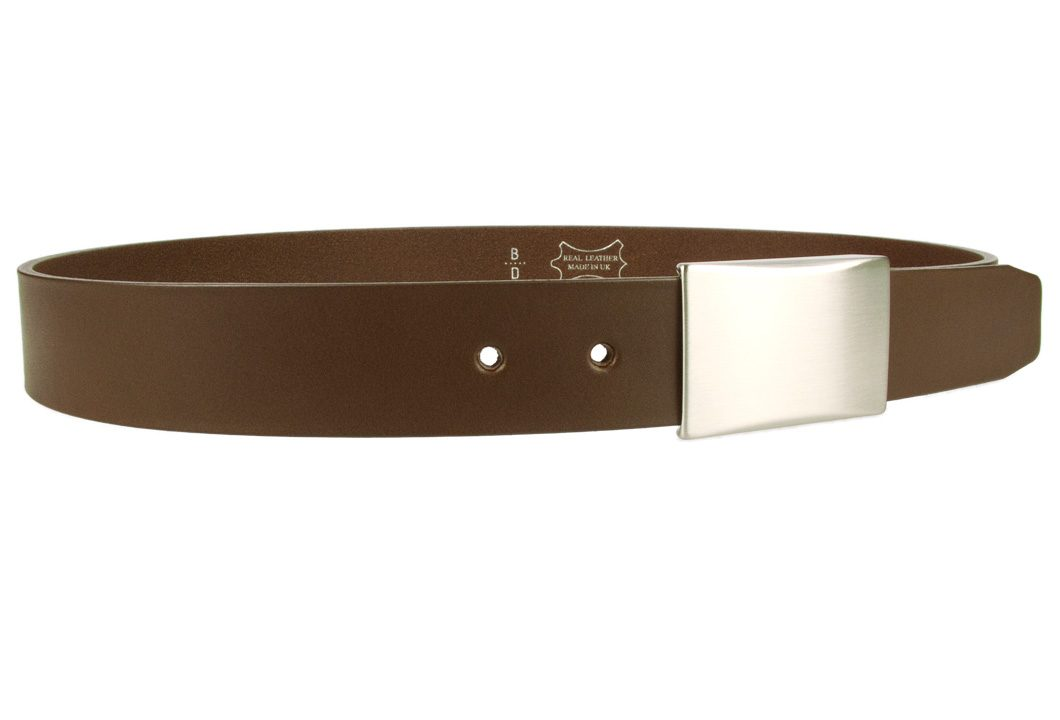 Plate Belt - Brown Leather - Made in UK | 35 mm Wide | Full Grain Italian Vegetable Tanned Leather | Hand Brushed Italian Made Nickel Plated Buckle | Free Sliding Loop |Right Facing Image