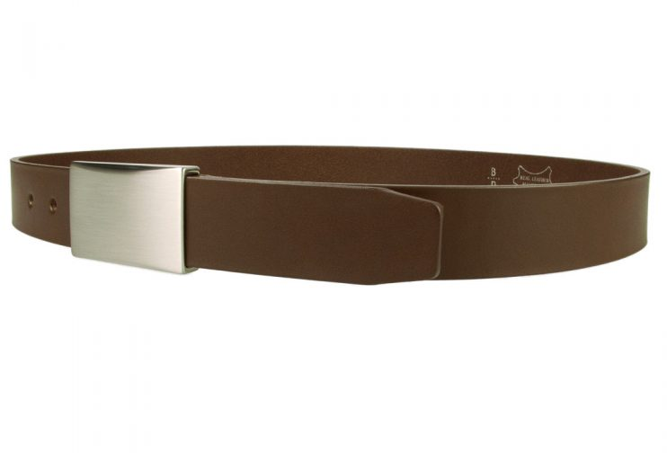 Plate Belt - Brown Leather - Made in UK | 35 mm Wide | Full Grain Italian Vegetable Tanned Leather | Hand Brushed Italian Made Nickel Plated Buckle | Free Sliding Loop | Left Facing Image