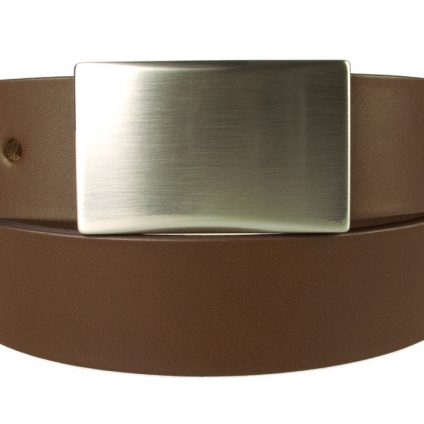 Plate Belt - Brown Leather - Made in UK | 35 mm Wide | Full Grain Italian Vegetable Tanned Leather | Hand Brushed Italian Made Nickel Plated Buckle | Free Sliding Loop | Front Rolled Image