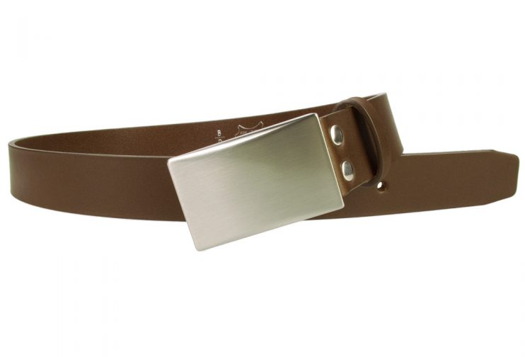 Plate Belt - Brown Leather - Made in UK | 35 mm Wide | Full Grain Italian Vegetable Tanned Leather | Hand Brushed Italian Made Nickel Plated Buckle | Free Sliding Loop | Open Image 1