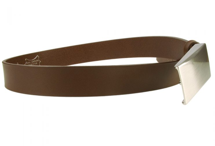 Plate Belt - Brown Leather - Made in UK | 35 mm Wide | Full Grain Italian Vegetable Tanned Leather | Hand Brushed Italian Made Nickel Plated Buckle | Free Sliding Loop | Open Image 2