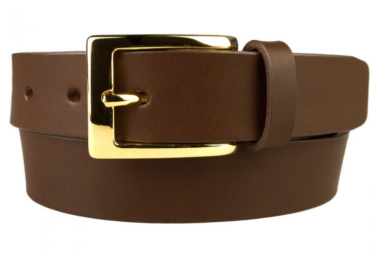Mens Brown Leather Belt With Gold Buckle | Gold Plated Italian Made Buckle | High Quality Italian Vegetable Tanned Leather | 30mm Wide | Made In UK by Belt Designs | Front Rolled Image