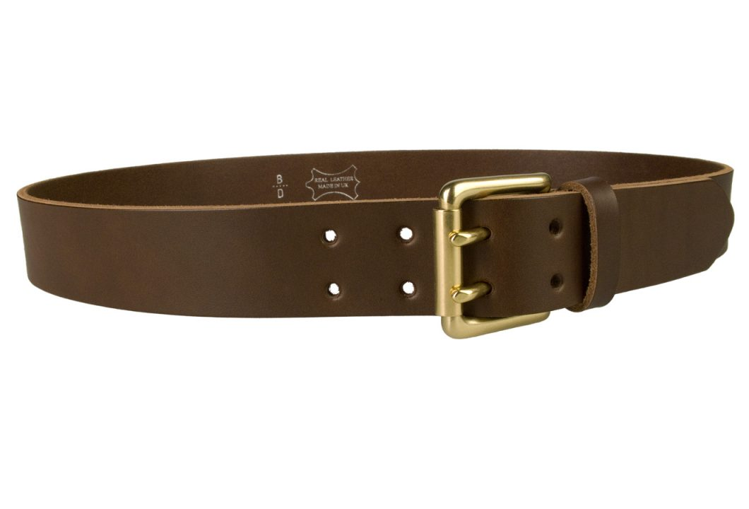 Brass Double Prong Leather Jeans Belt | Brown | Solid Brass Double Prong Roller Buckle | 39 cm Wide 1.5 inch | Vegetable Tanned Leather | Made In UK | Right Facing Image