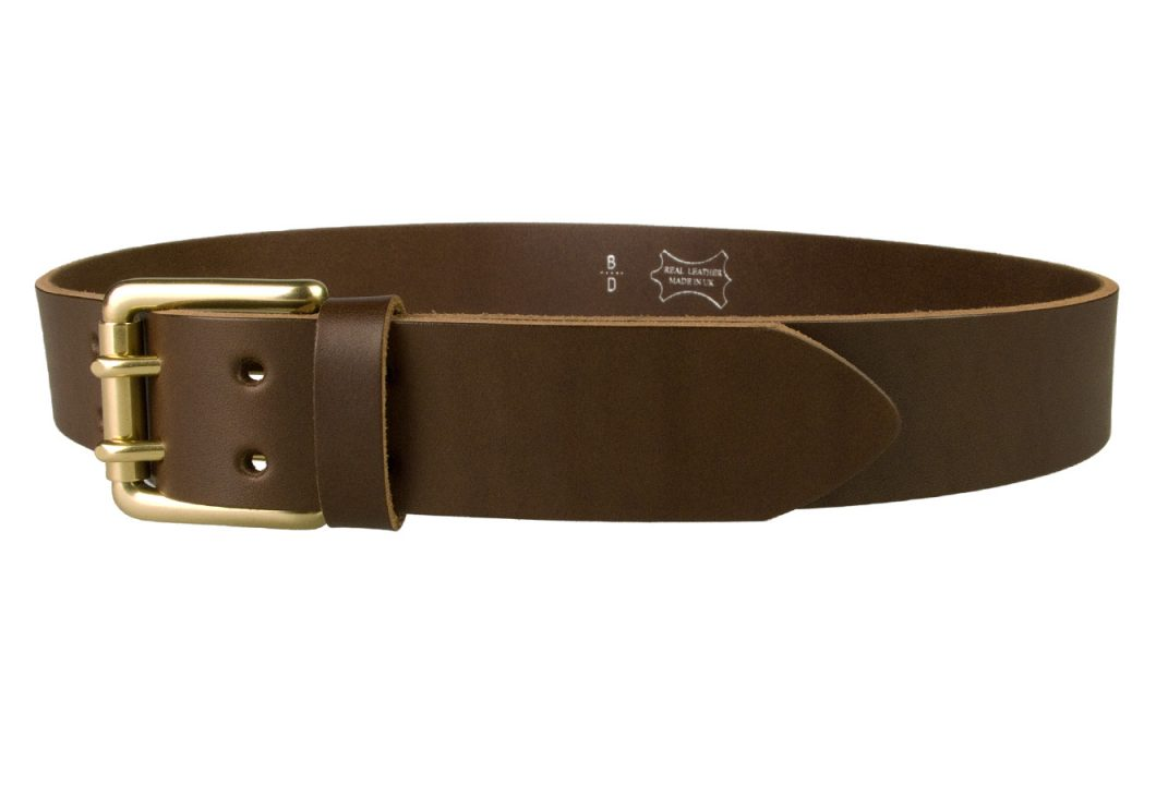 Brass Double Prong Leather Jeans Belt   Brown   Solid Brass Double Prong Roller Buckle   39 cm Wide 1.5 inch   Vegetable Tanned Leather   Made In UK   Left Facing Image