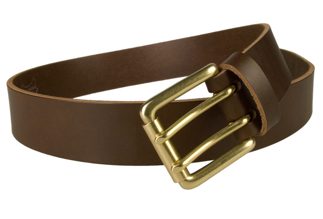 Brass Double Prong Leather Jeans Belt | Brown | Solid Brass Double Prong Roller Buckle | 39 cm Wide 1.5 inch | Vegetable Tanned Leather | Made In UK | Open Image 1