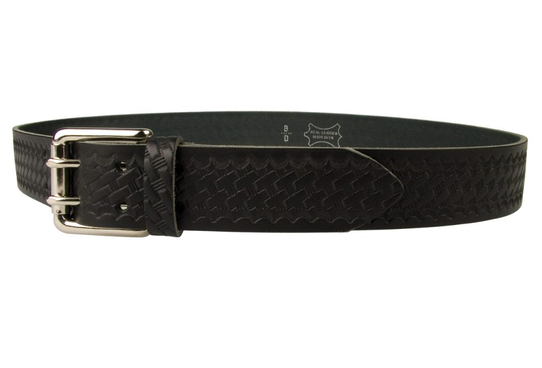 American Style Basketweave Embossed Leather Duty Belt MADE IN UK | Black | Nickel Plated Solid Brass Double Prong Roller Buckle | 39 cm Wide 1.5 inch | Italian Full Grain Vegetable Tanned Leather | Left Facing View