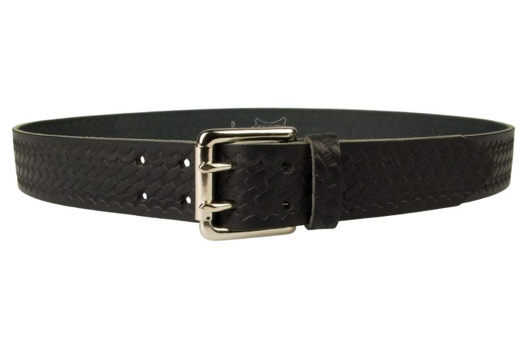 American Style Basketweave Embossed Leather Duty Belt MADE IN UK | Black | Nickel Plated Solid Brass Double Prong Roller Buckle | 39 cm Wide 1.5 inch | Italian Full Grain Vegetable Tanned Leather | Front View