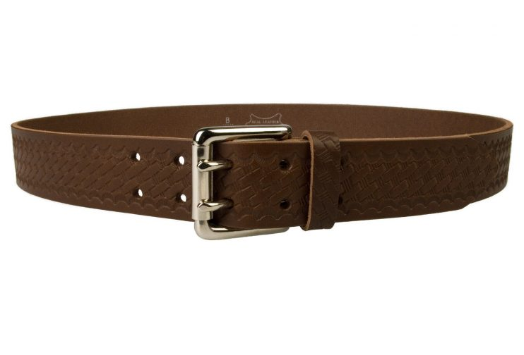 American Style Brown Basketweave Embossed Leather Duty Belt MADE IN UK | Brown | Nickel Plated Solid Brass Double Prong Roller Buckle | 39 cm Wide 1.5 inch | Italian Full Grain Vegetable Tanned Leather | Front View