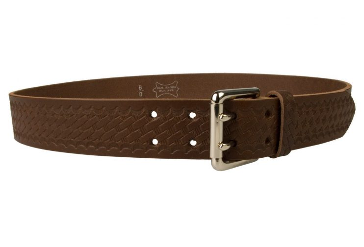 American Style Brown Basketweave Embossed Leather Duty Belt MADE IN UK | Brown | Nickel Plated Solid Brass Double Prong Roller Buckle | 39 cm Wide 1.5 inch | Italian Full Grain Vegetable Tanned Leather | Right Facing View