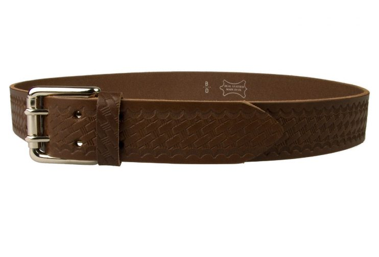 American Style Brown Basketweave Embossed Leather Duty Belt MADE IN UK | Brown | Nickel Plated Solid Brass Double Prong Roller Buckle | 39 cm Wide 1.5 inch | Italian Full Grain Vegetable Tanned Leather | Left Facing View