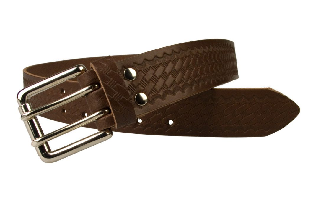 American Style Brown Basketweave Embossed Leather Duty Belt MADE IN UK | Brown | Nickel Plated Solid Brass Double Prong Roller Buckle | 39 cm Wide 1.5 inch | Italian Full Grain Vegetable Tanned Leather | Open View 1