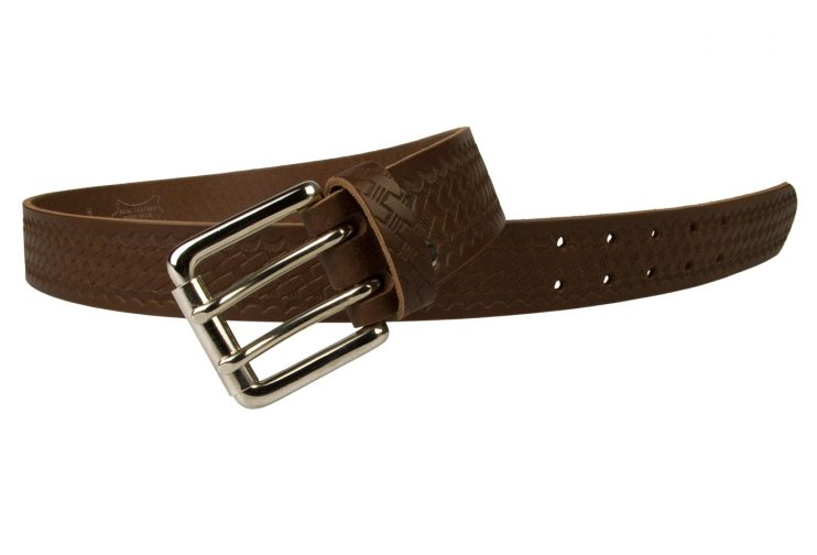 American Style Brown Basketweave Embossed Leather Duty Belt MADE IN UK | Brown | Nickel Plated Solid Brass Double Prong Roller Buckle | 39 cm Wide 1.5 inch | Italian Full Grain Vegetable Tanned Leather | Open View 2