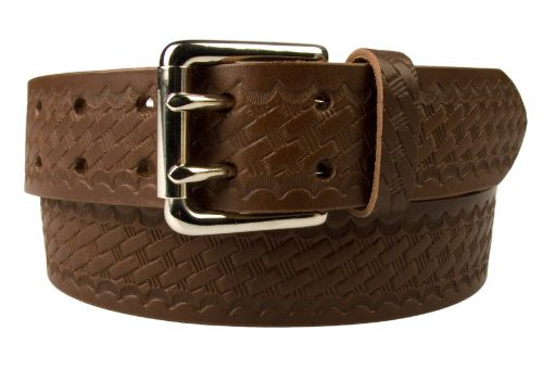 American Style Brown Basketweave Embossed Leather Duty Belt MADE IN UK | Brown | Nickel Plated Solid Brass Double Prong Roller Buckle | 39 cm Wide 1.5 inch | Italian Full Grain Vegetable Tanned Leather | Front Rolled Image