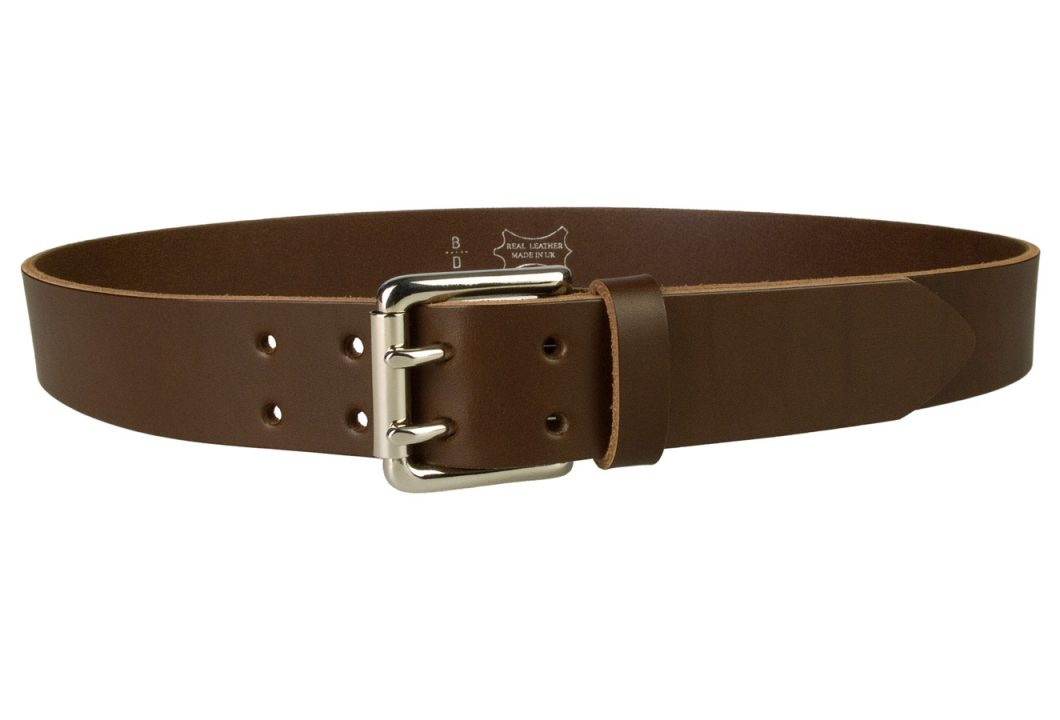 Leather Jeans Belt - Double Prong Roller Buckle | Brown | Nickel Plated Solid Brass Double Prong Roller Buckle | 39 cm Wide 1.5 inch | Italian Full Grain Vegetable Tanned Leather | Made In UK | Front Image