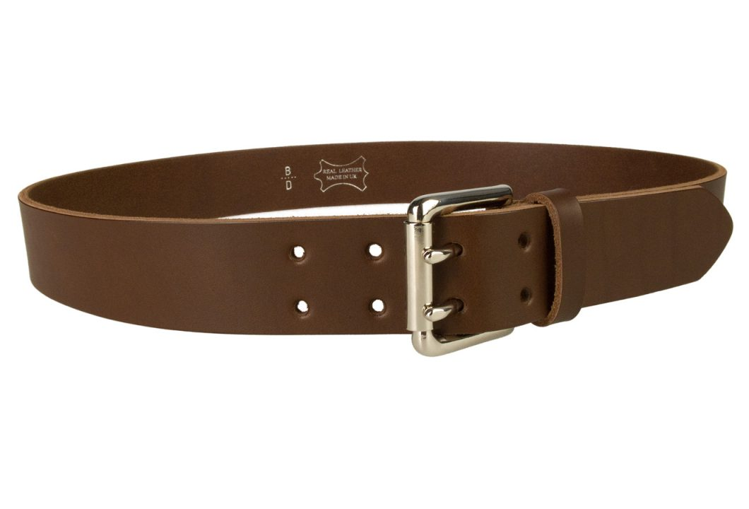 Leather Jeans Belt - Double Prong Roller Buckle | Brown | Nickel Plated Solid Brass Double Prong Roller Buckle | 39 cm Wide 1.5 inch | Italian Full Grain Vegetable Tanned Leather | Made In UK | Right Facing Image